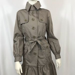 Ted Baker Ruffle Hem Trench Coat Jacket Classic BB